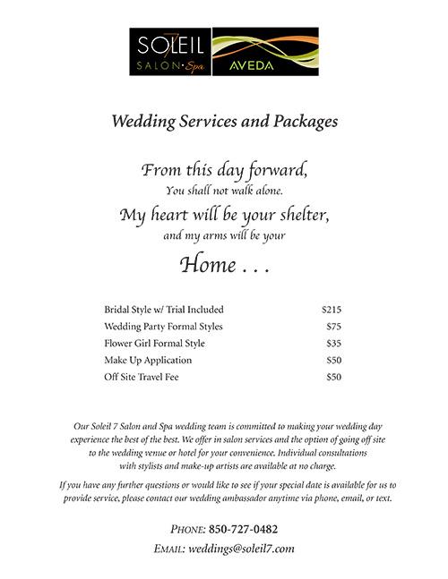 Wedding Services Menu